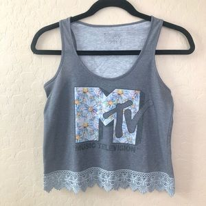 Retro MTV Cropped Tank Top Floral and Lace